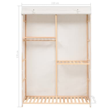 vidaXL 3 tasandiga garderoob 110 x 40 x 170 cm[7/7]