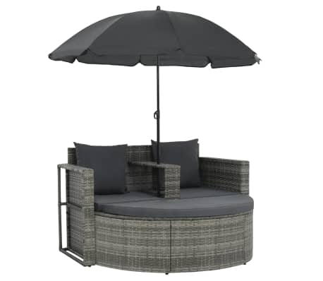 vidaXL 2 Seater Garden Sofa with Cushions and Parasol Grey Poly Rattan