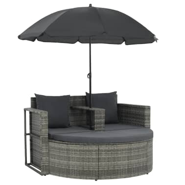 vidaXL 2 Seater Garden Sofa with Cushions and Parasol Gray Poly Rattan[2/8]