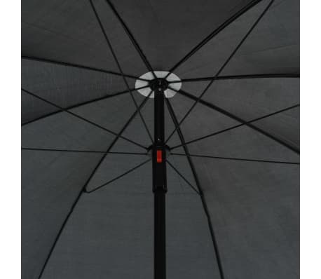 vidaXL 2 Seater Garden Sofa with Cushions and Parasol Gray Poly Rattan[7/8]