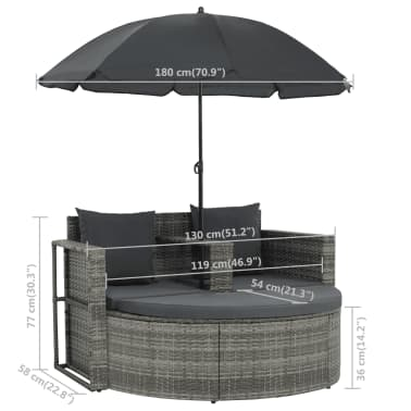 vidaXL 2 Seater Garden Sofa with Cushions and Parasol Gray Poly Rattan[8/8]