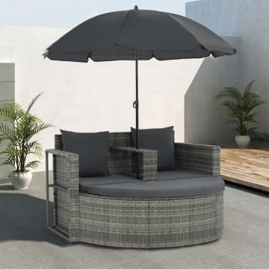 vidaXL 2 Seater Garden Sofa with Cushions and Parasol Gray Poly Rattan[1/8]