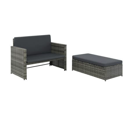 vidaXL 2 Piece Garden Lounge Set with Cushions Poly Rattan Gray[1/9]