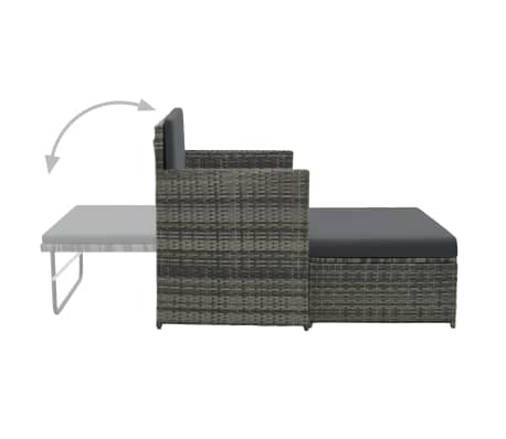vidaXL 2 Piece Garden Lounge Set with Cushions Poly Rattan Gray[3/9]