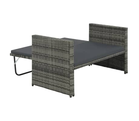 vidaXL 2 Piece Garden Lounge Set with Cushions Poly Rattan Gray[5/9]
