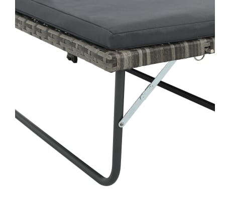 vidaXL 2 Piece Garden Lounge Set with Cushions Poly Rattan Gray[6/9]