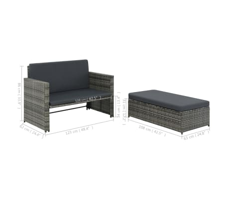 vidaXL 2 Piece Garden Lounge Set with Cushions Poly Rattan Gray[9/9]