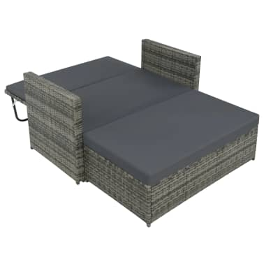 vidaXL 2 Piece Garden Lounge Set with Cushions Poly Rattan Gray[4/9]