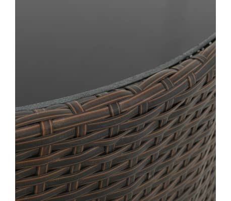 acheter vidaxl jeu de canap s d 39 ext rieur 5 pcs r sine tress e marron et blanc pas cher. Black Bedroom Furniture Sets. Home Design Ideas