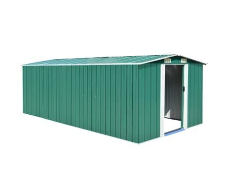 vidaXL Garden Shed 257x497x178 cm Metal Green