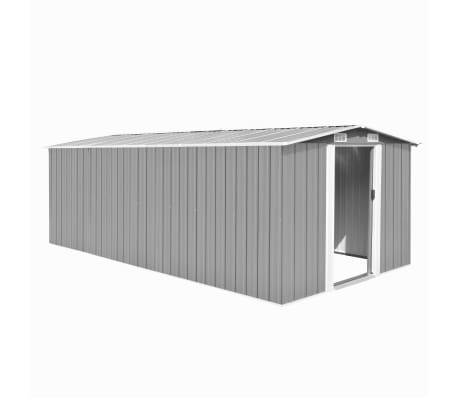 vidaXL Градинска барака, 257x497x178 см, метал, сива