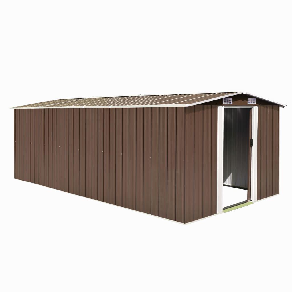 Zahradní domek 257 x 497 x 178 cm kovový hnědý