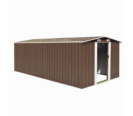 vidaXL Garden Shed 257x497x178 cm Metal Brown