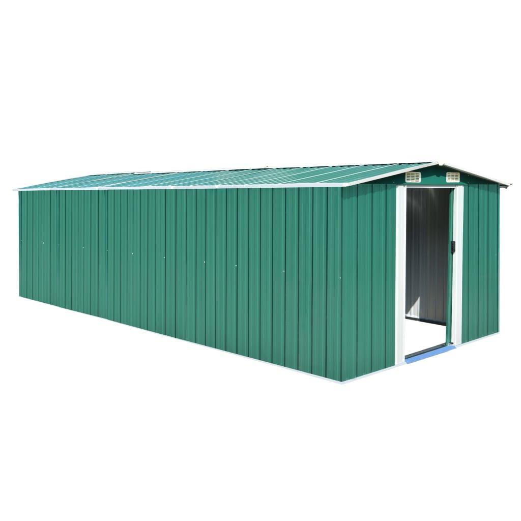 Zahradní domek 257 x 597 x 178 cm kovový zelený