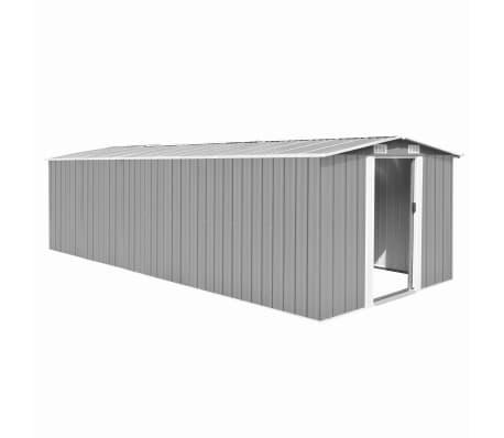 vidaXL Garden Shed 257x597x178 cm Metal Grey