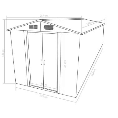 vidaXL Zahradní domek 257 x 597 x 178 cm kovový antracitový[9/9]