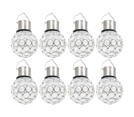 vidaXL Wiszące lampy solarne, 8 szt., LED RGB[2/12]