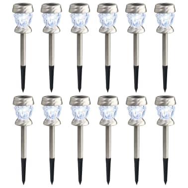 vidaXL Stojací solární lampy 12 ks LED žárovky bílé[1/7]