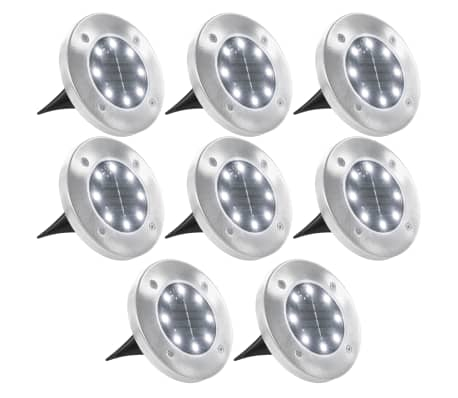 vidaXL Solar Ground Lights 8 pcs LED Lights White