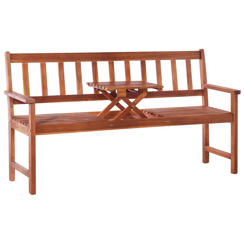 vidaXL 3místná zahradní lavice se stolkem 158 cm masivní akácie hnědá
