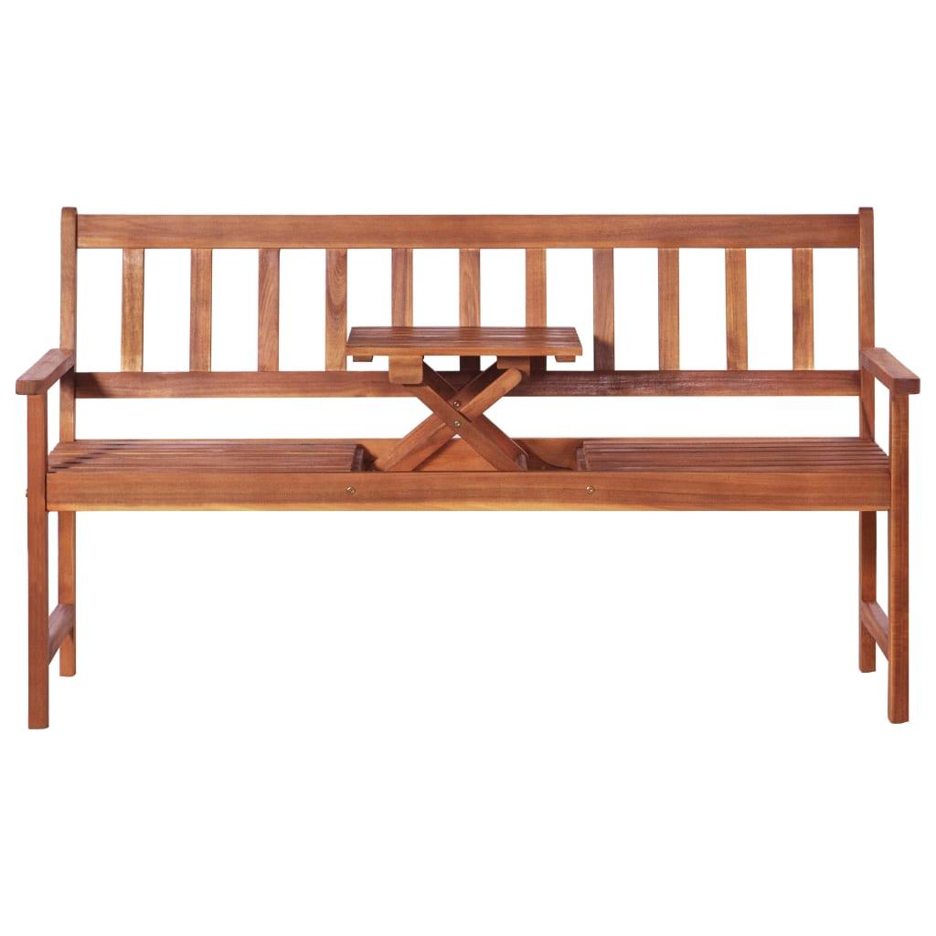 vidaXL Driezits tuinbank met tafel 158 cm massief acaciahout bruin