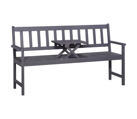 vidaXL 3-Seater Garden Bench with Table 158 cm Solid Acacia Wood Grey