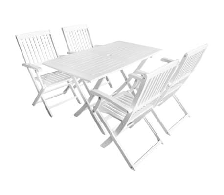 vidaXL 5 Piece Outdoor Dining Set Solid Acacia Wood White-picture