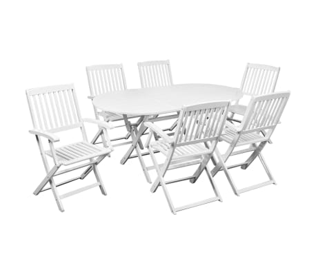 vidaXL 7 Piece Folding Outdoor Dining Set Solid Acacia Wood White