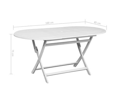 Esstisch oval weiß  vidaXL Garten-Esstisch Oval Weiß 160 x 85 x 75 cm Akazienholz