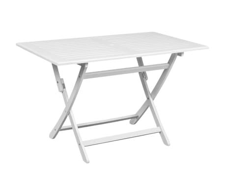 vidaXL Garden Table White 120x70x75 cm Solid Acacia Wood