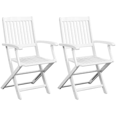 vidaXL Dining Chairs 2 pcs White Solid Acacia Wood[1/6]