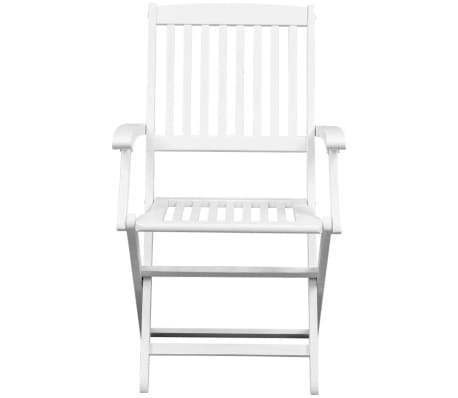 vidaXL Dining Chairs 2 pcs White Solid Acacia Wood[2/6]