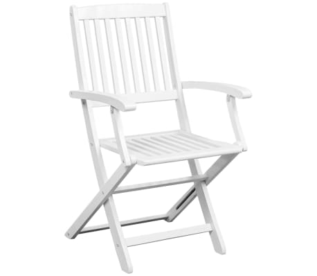 vidaXL Dining Chairs 2 pcs White Solid Acacia Wood[3/6]