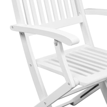 vidaXL Dining Chairs 2 pcs White Solid Acacia Wood[4/6]