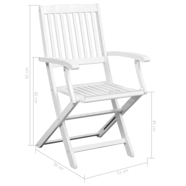 vidaXL Dining Chairs 2 pcs White Solid Acacia Wood[6/6]