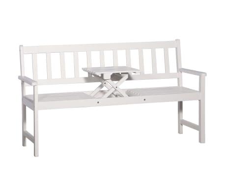 vidaXL Bancă de grădină cu 3 locuri & masă alb 158cm lemn masiv acacia[1/8]
