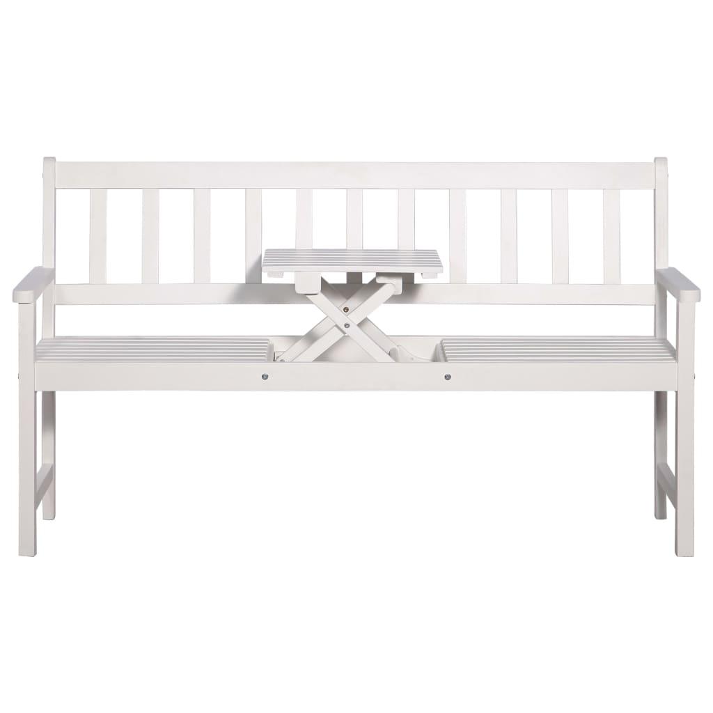 vidaXL Driezits tuinbank met tafel 158 cm massief acaciahout wit