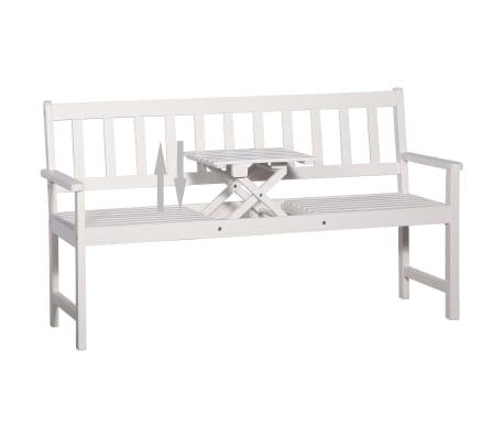 vidaXL Bancă de grădină cu 3 locuri & masă alb 158cm lemn masiv acacia[4/8]