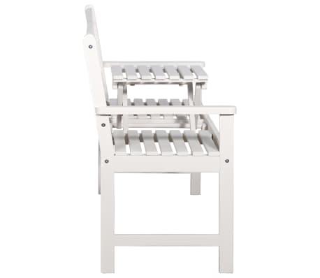 vidaXL Bancă de grădină cu 3 locuri & masă alb 158cm lemn masiv acacia[6/8]