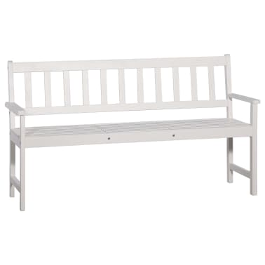 vidaXL Bancă de grădină cu 3 locuri & masă alb 158cm lemn masiv acacia[5/8]