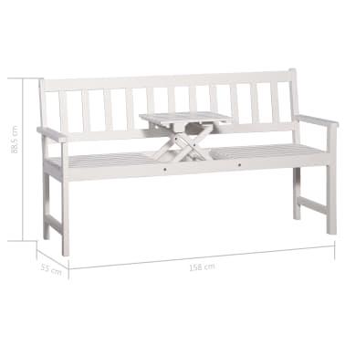 vidaXL Bancă de grădină cu 3 locuri & masă alb 158cm lemn masiv acacia[8/8]