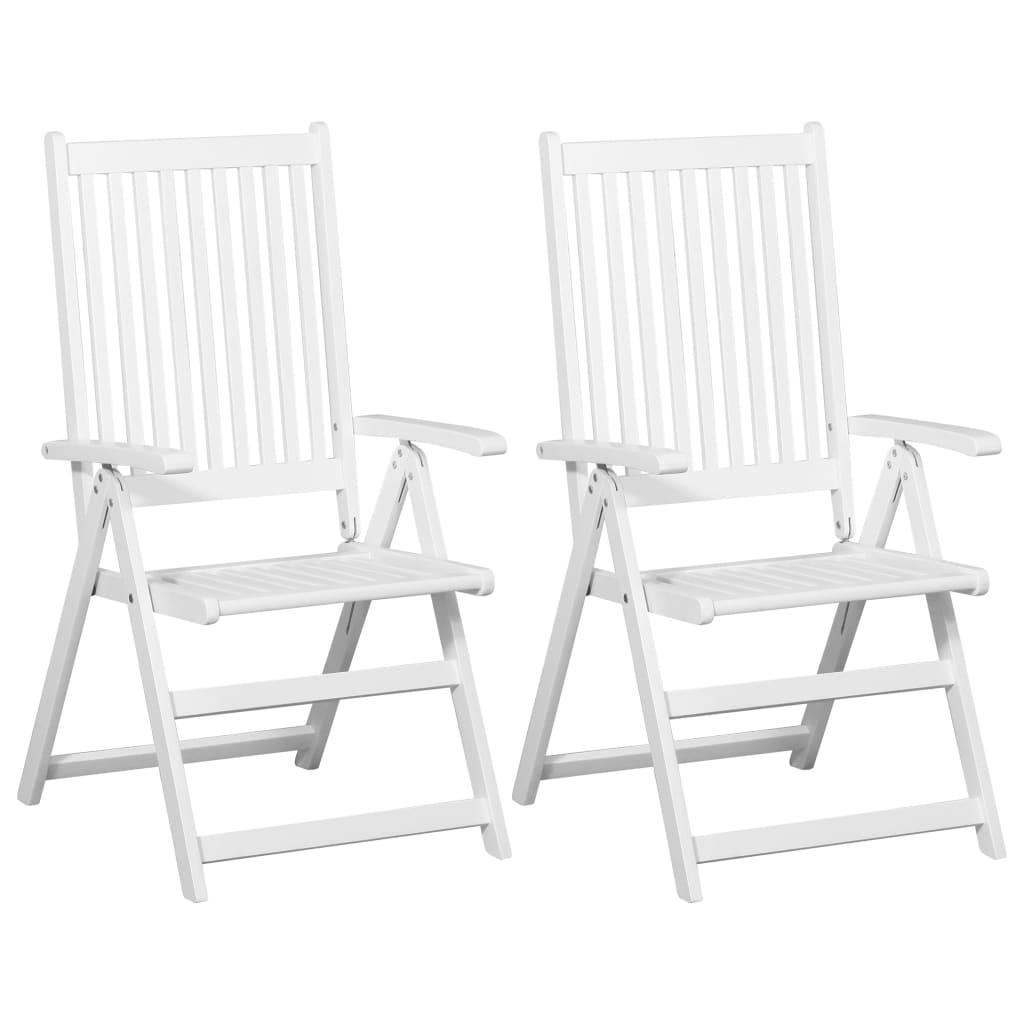 vidaXL Krzesła składane, 2 szt., lite drewno akacjowe, białe