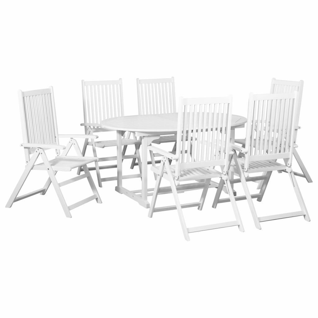 vidaXL 7-częściowy zestaw ogrodowy z rozkładanym stołem, drewno, biały