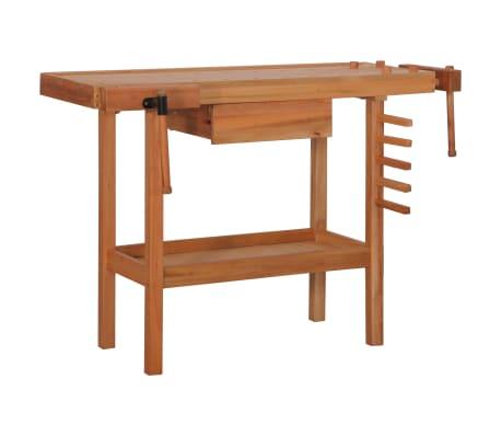 vidaXL Carpentry Work Bench with Drawer 2 Vises Hardwood