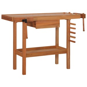 vidaXL Carpentry Work Bench with Drawer 2 Vises Hardwood