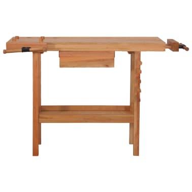 vidaXL Carpentry Work Bench with Drawer 2 Vises Hardwood[3/9]