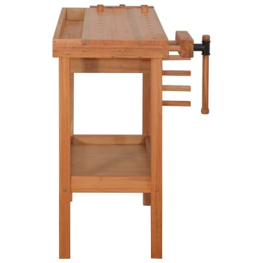 vidaXL Carpentry Work Bench with Drawer 2 Vises Hardwood[4/9]