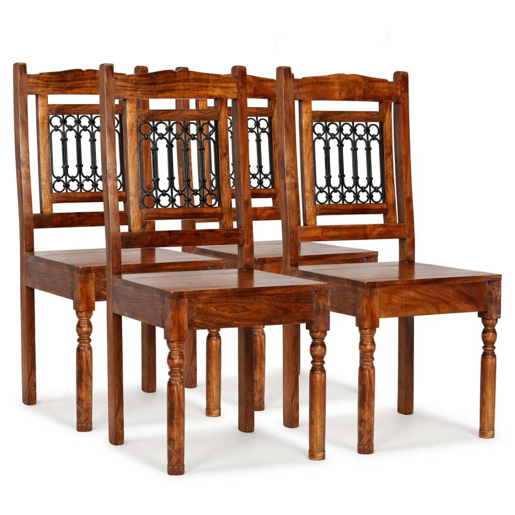 vidaXL Καρέκλες Τραπεζαρίας Κλασικές 4 τεμ. Ξύλο/Φινίρισμα Sheesham