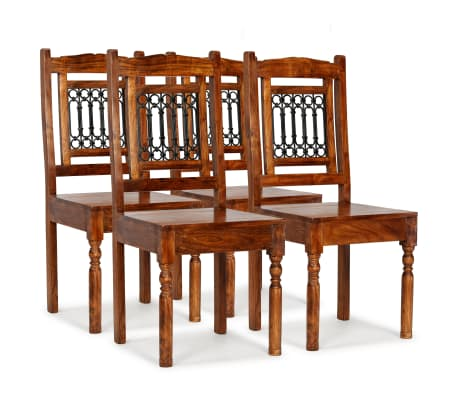 vidaXL Dining Chairs 4 pcs Solid Wood with Sheesham Finish Classic[1/10]