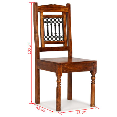 vidaXL Dining Chairs 4 pcs Solid Wood with Sheesham Finish Classic[10/10]